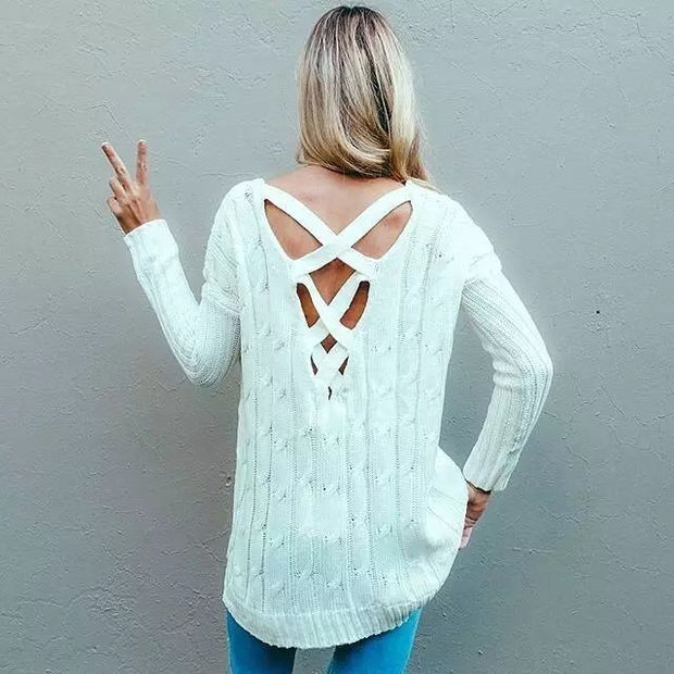 Hollow Out Knit Stylish Sweater