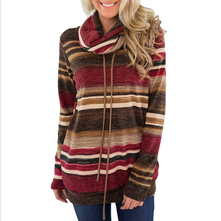 Women'S High Collar Striped Casual Long Sleeve Sweater