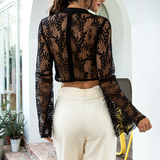 Long Sleeve Sexy Lace Slim T-Shirt