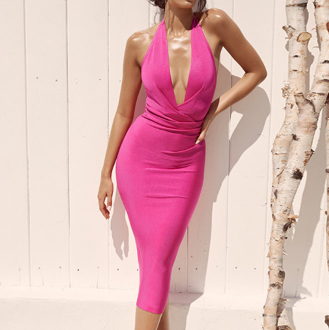 Solid Color Sexy Deep V Backless Sleeveless Hip Dress