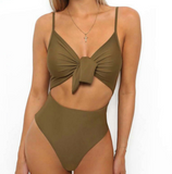 Solid Color Sexy Backless One Piece Swimwear