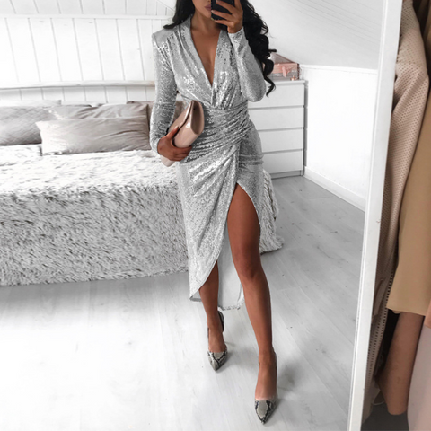 Chain Sling Off Shoulder Slim Sexy Long Sleeve Dress