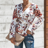 Fashion Print V-neck Chiffon Long Sleeve Shirt