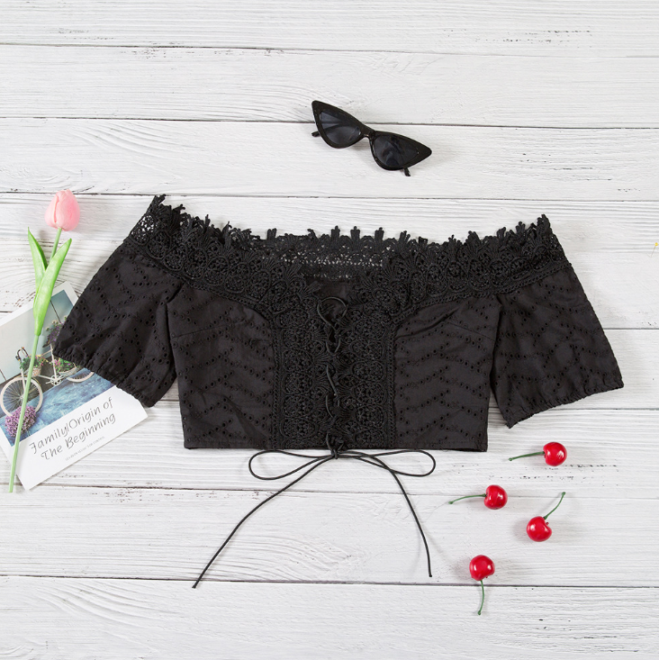 Sexy Lace Bow Short-Sleeved T-Shirt