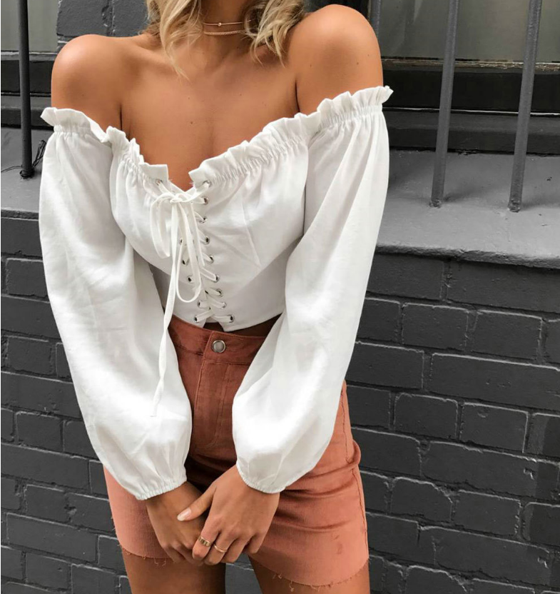 Sexy Solid Color Long-Sleeved Shirt