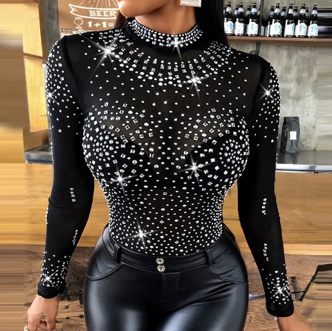 Casual Round Neck Sequined Short Sleeve T-Shirt
