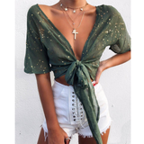 Sexy V-Neck Lace Five-Pointed Star Top