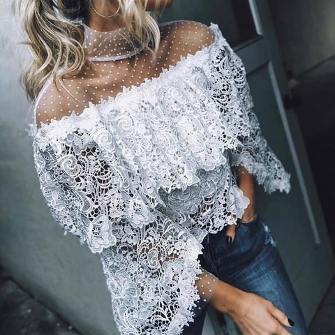Sexy long-sleeved chiffon shirt
