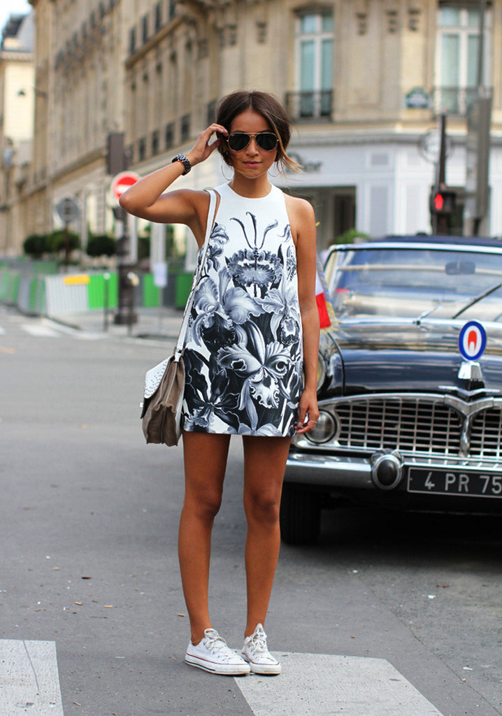 Slim Round Neck Sleeveless Printed Dress