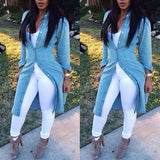 Solid color long-sleeved cardigan denim jacket