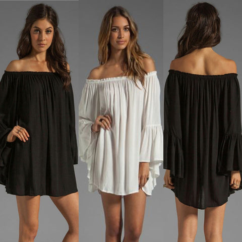 Black Deep V Neck Pockets Chiffon Dress