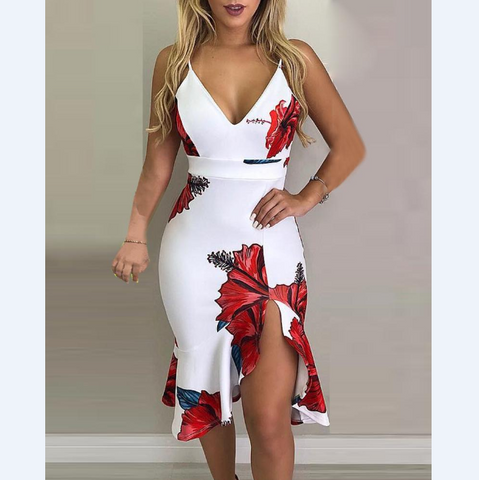 Sexy printed sling Two-piece dress