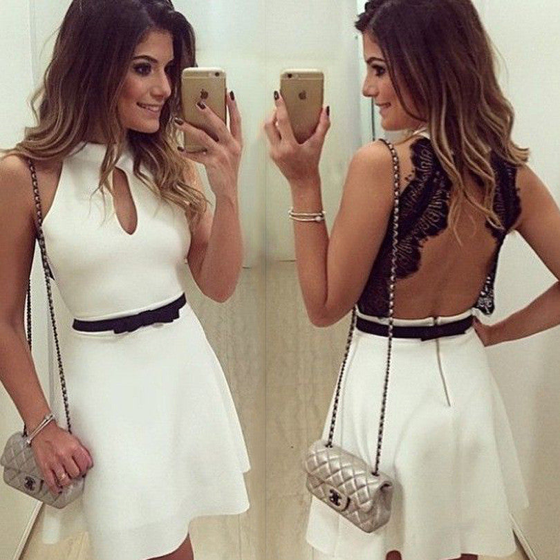 Design Sleeveless V-neck backless dress