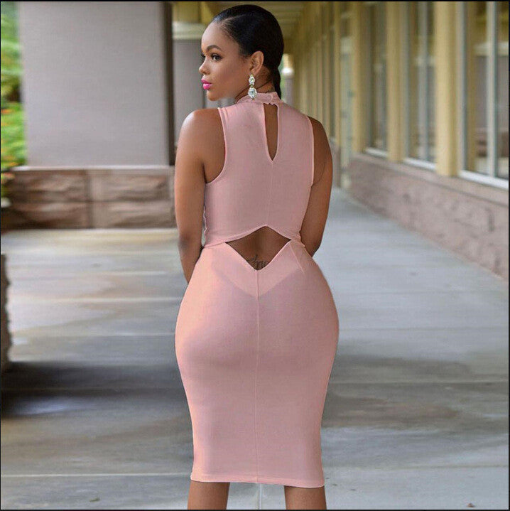 Fashion sexy sleeveless backless dress