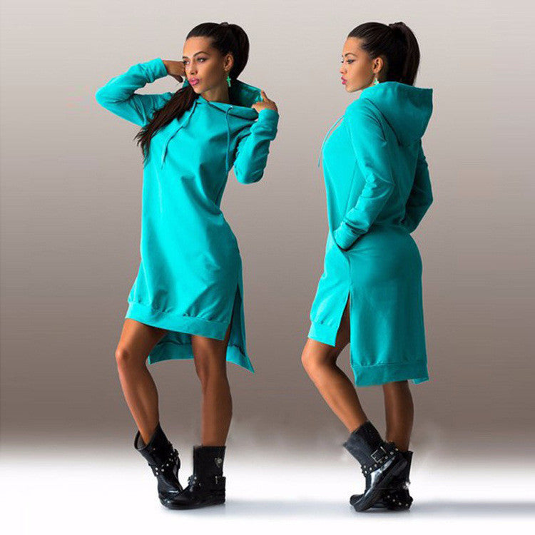 Fashion hooded long-sleeved dress