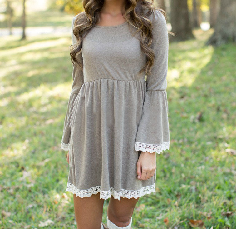 Solid Color Long Sleeve Round Neck Dress