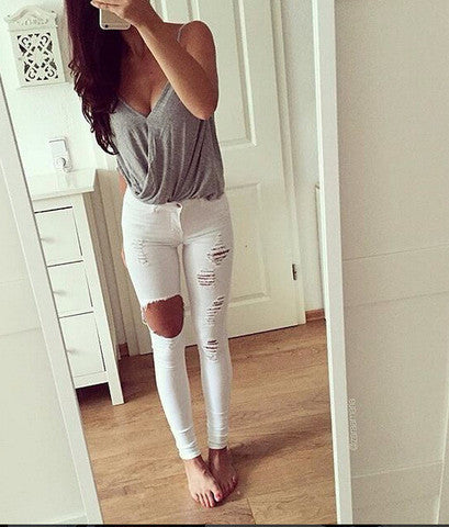 FASHION HOLE JEANS LONG PANTS