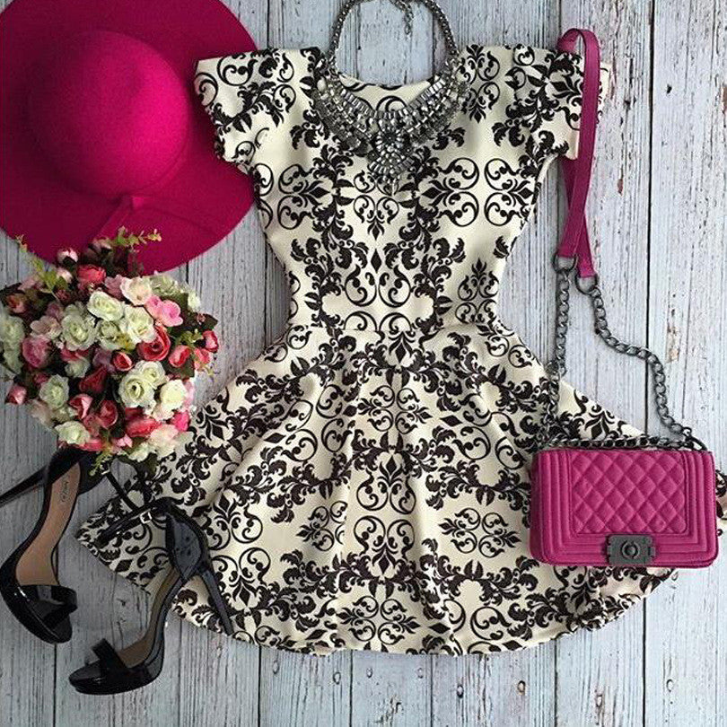 Retro Round neck print dress