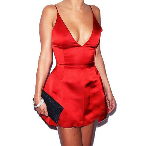 SEXY V-NECK HALTER DRESS