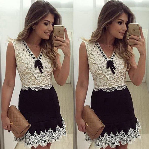 Slim Round Neck Sleeveless Lace Dress