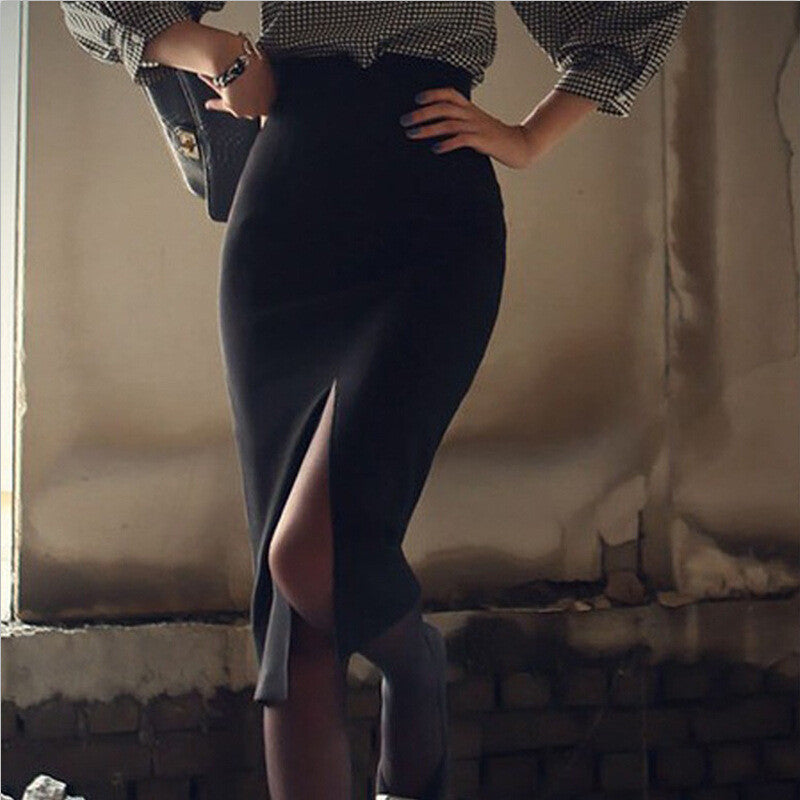 Slim high waist skirt split
