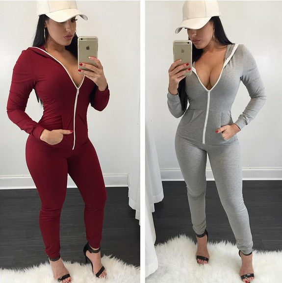 Long-sleeved zipper Jumpsuits