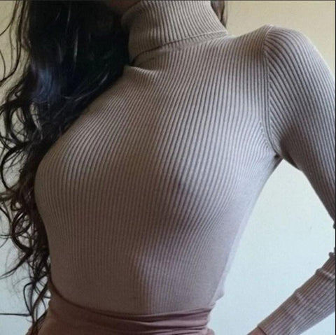Long-sleeved high-necked knit sweater