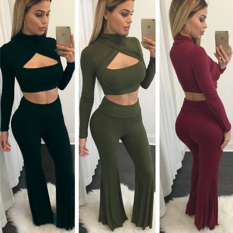 Fashion sexy long-sleeved knit two-piece pants