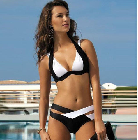 Fashion design zipper stripe printed swimsuit