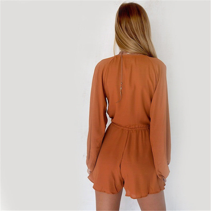 Solid color V-neck long-sleeved chiffon jumpsuit