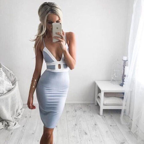 V-Neck Short-Sleeved Solid Color Dress