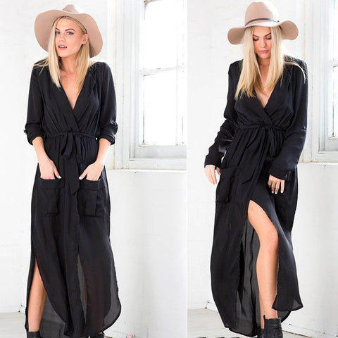 Casual Long Sleeve Black Dress