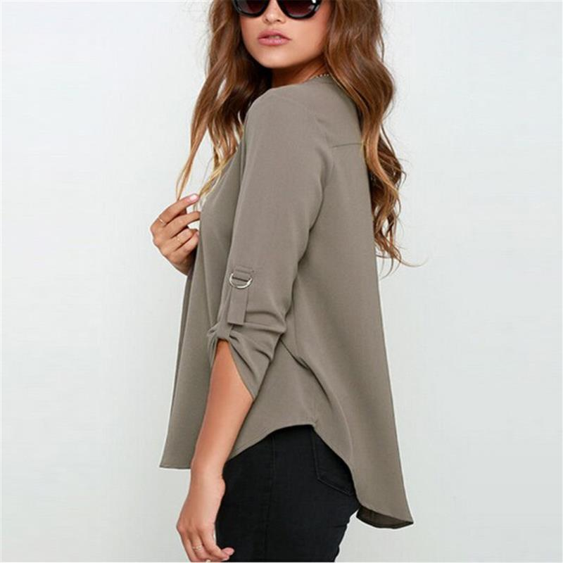 V-Neck Long-Sleeved Chiffon Shirt