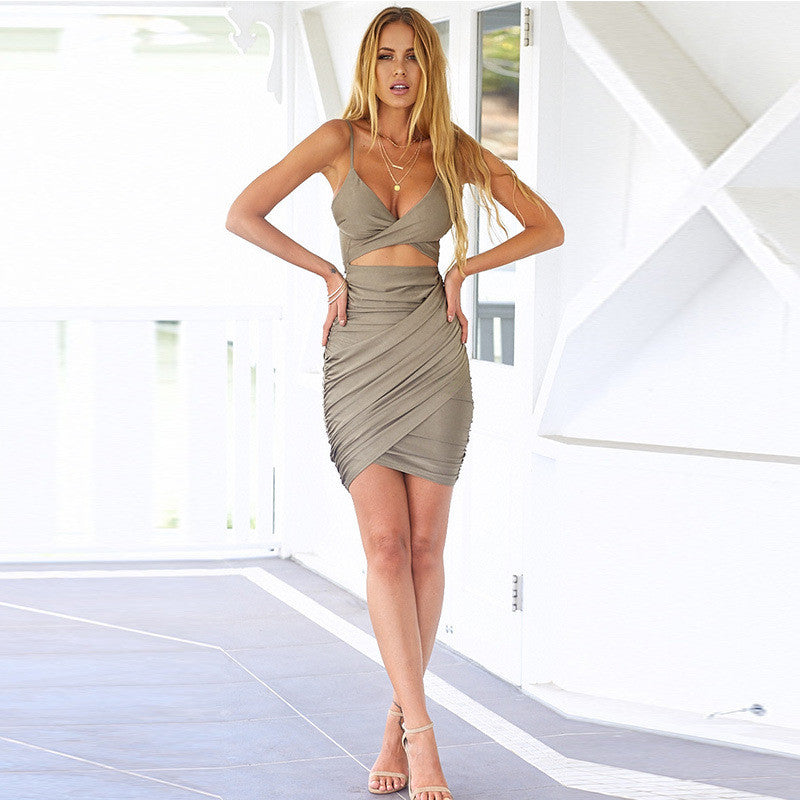 Sexy V-neck Package hip dress
