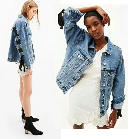 Blue Lightwash Lace Up Back Classic Denim Jacket