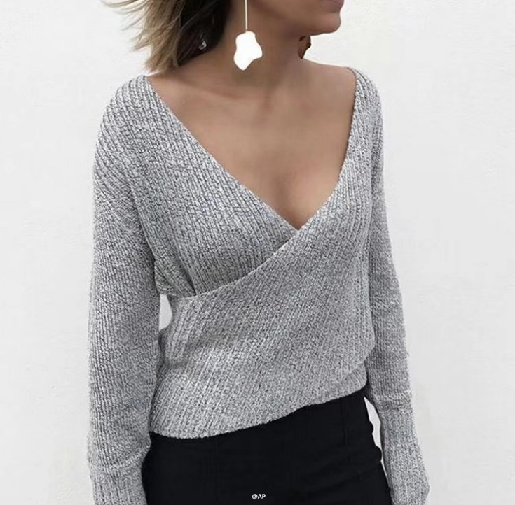 Women'S Sexy V-Neck Knitted Sweaters