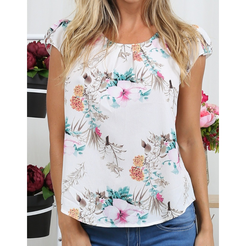 Round Neck Printed Short Sleeve Chiffon Shirt
