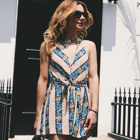 Irregular Printed Sleeveless Dress
