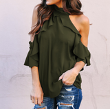 Women'S Ruffled Off-The-Shoulder Hanging Neck T-Shirt