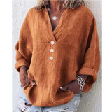 Solid Color V-Neck Long-Sleeved Shirt