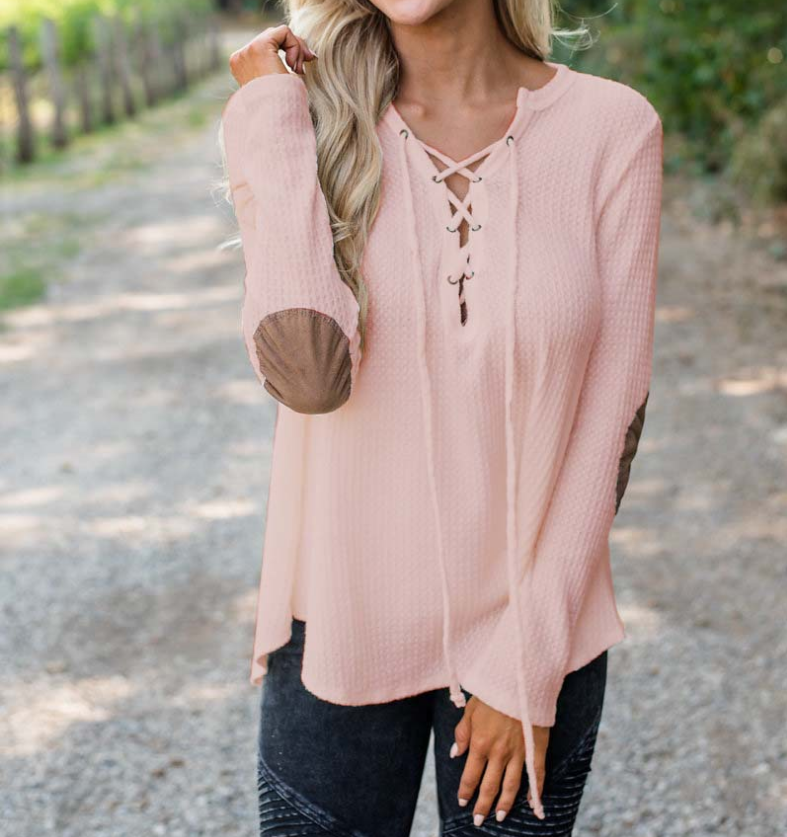 Women Long Sleeve Solid Color V-neck T-Shirt