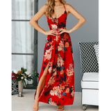 Up V-Neck Floral Print Lace Maxi Dresses