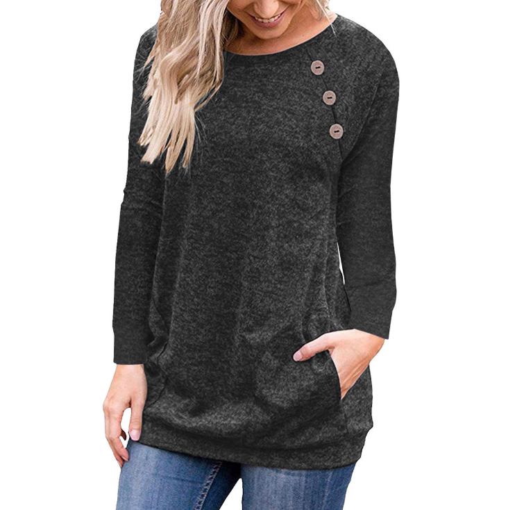 Round Neck Button Long Sleeve Pocket T-Shirt