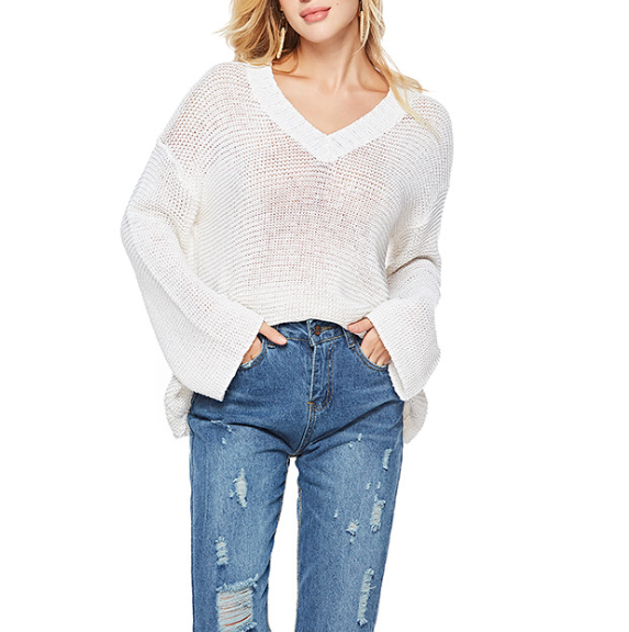 Loose V-Neck Knit White Long-Sleeve Sweater