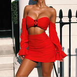 Women'S Sexy Long Sleeve Two-Piece Set Dress