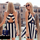 SEXY STRIPED V-NECK SLEEVELESS DRESS