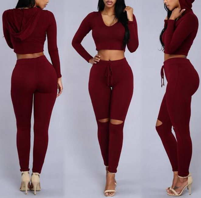 Women'S Casual Sexy Hooded Long-Sleeved Two-Piece Pants