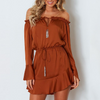 Fashion Sexy Ruffled Long Sleeve Dress