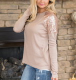 Women'S Round Neck Sequined Long-Sleeved T-Shirt