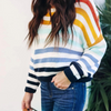 Design Striped Long Sleeve Knit Sweater